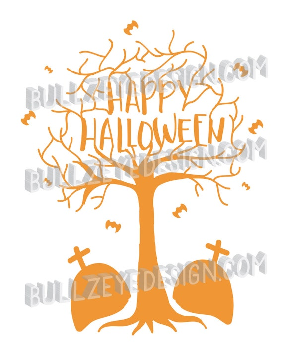 Happy Halloween Tree svg Halloween vector scary tree eps | Etsy