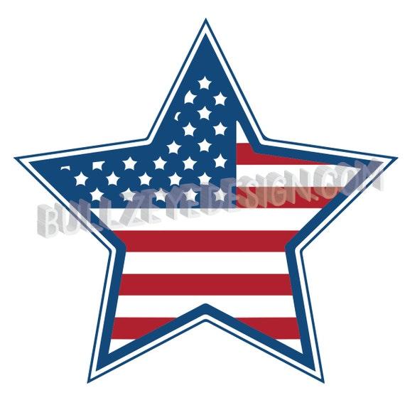 American Flag Inside Of Star Patriotic Vector Eps Vector Etsy