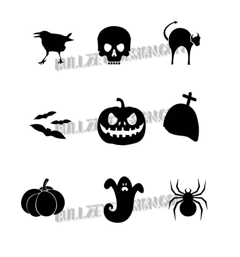 9 Halloween svg, Halloween Vector EPS, Halloween silhouette svg, Halloween  vectors, Halloween svg, raven, skull, jackolantern, pumpkin