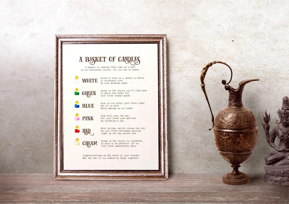 Candle Poem For Wedding Gift: Basket Of Candles Printable Poem Newlywed Gift Basket Bridal