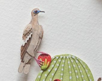 Pollinator - Dove - White winged dove - Pollination - art - Nature - bird art - wildlife - watercolour art - paper cut - paper art