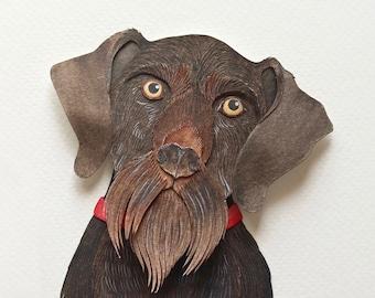 Pet portrait - Dog portrait - custom pet portrait - custom dog portrait - paperart - papercut - custom portrait - dog - miniature - art