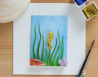 Seahorse - yellow seahorse - underwater - Marine life - aquatic art - Original art - Paper art - NVillustration