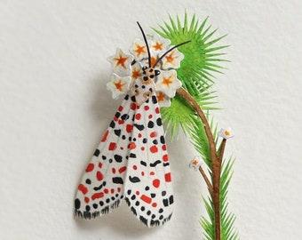 Moth - crimson speckled moth - crimson - moth art - insect art - Nature - gift - insect - watercolour art - paper cut - paper art