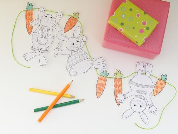 Girlande Mit Osterhasen Zum Ausmalen Und Ausschneiden Als Pdf Ein Bastelset Für Kinder