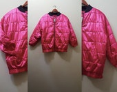 Vintage Bomber Jacket 90s Hot Pink Quilted Jacket 90s Puffy Jacket