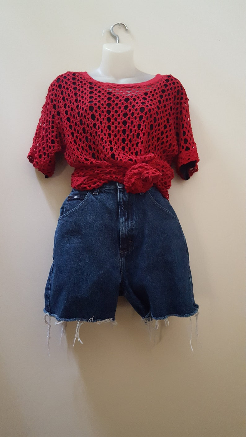 Red Crochet Top One Size Fits Most 80s Red Crochet Shirt