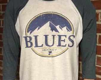 St. Louis Blues hockey raglan style t-shirt
