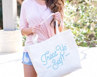 Funny Tote BagsTreat Yo SelfCanvas Shoulder Shopper Bag