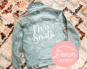 EB3343CT Personalized Jackets for Women Custom Bridesmaid Jean Jacket Denim Jacket with Name Holiday Gift Ideas for Friends Birthday Gift