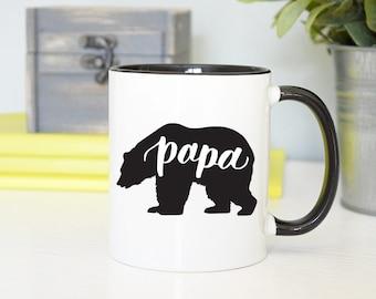Papa Bear Mug, Papa Mug, Father Mug, Dad Mug, Daddy Mug, Hand Lettered Mug, Calligraphy Mug, Rose Gold Rebel, New Dad Mug, Pops Mug