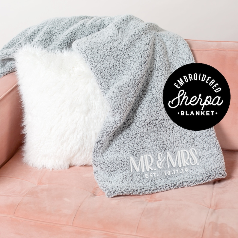 Mr And Mrs Gift Embroidered Blanket