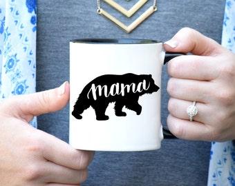 Mama ours Mug, Mug maman, maman ours, mère Mug, bébé douche cadeau Mug, tasse Unique cadeau, Or Rose rebelle, Mug calligraphie, à la main en lettres Mug