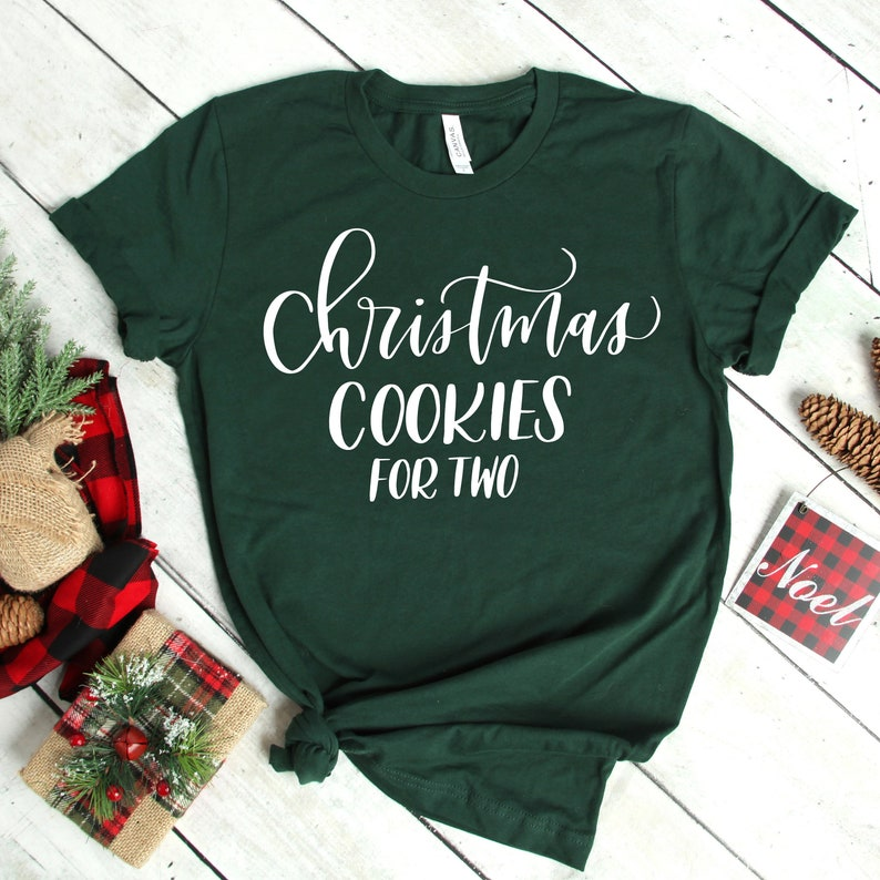55a574699a8 Christmas Cookies for Two Pregnancy Announcement Shirt Baby