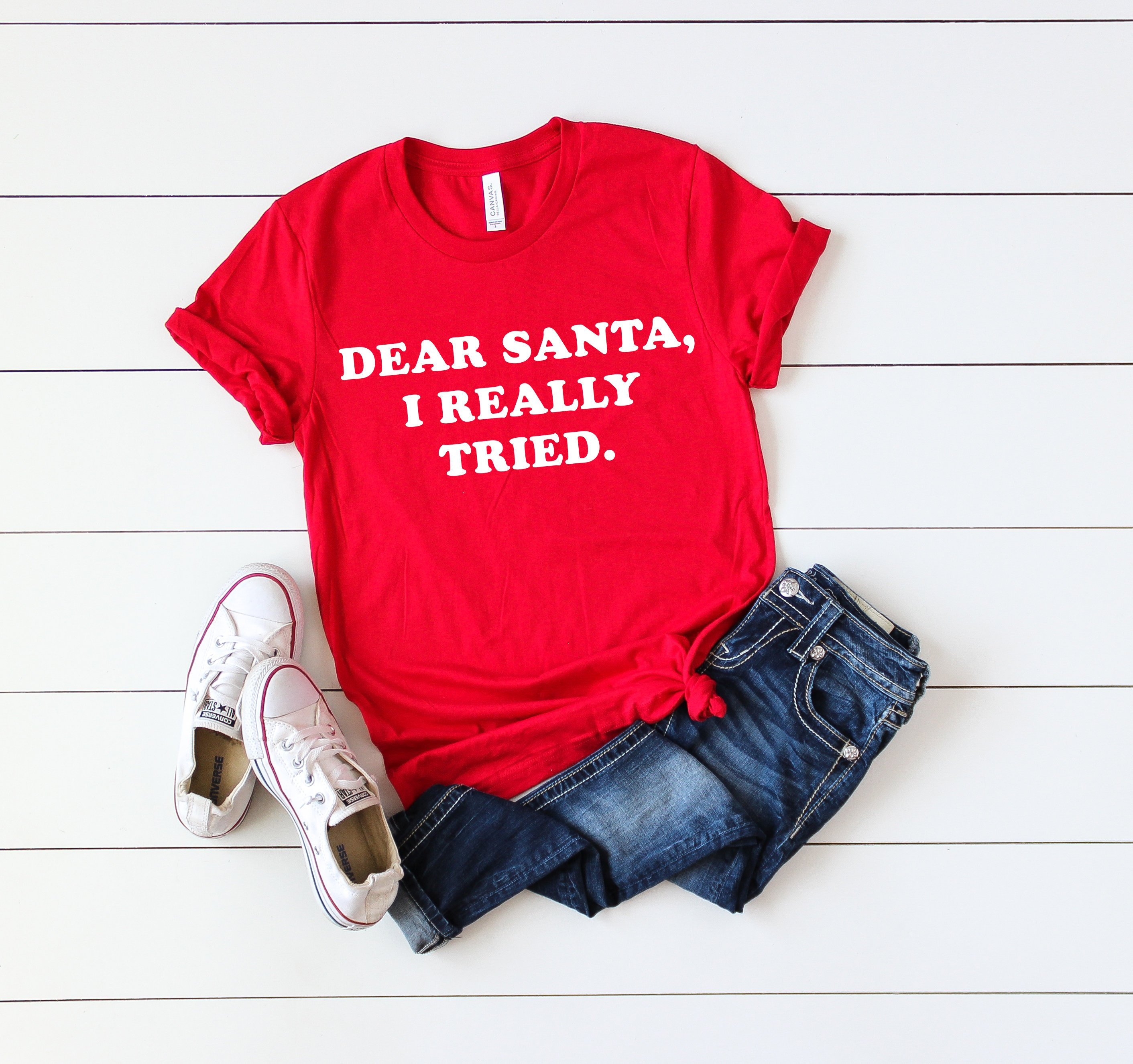 ba102b706c Dear Santa I Really Tried Santa Shirt Funny Christmas