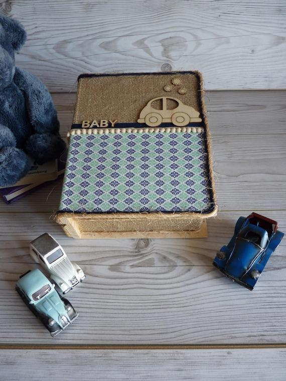 Boîte souvenir de bébé garçon, boîtes de rangement tissu, boîte à ...