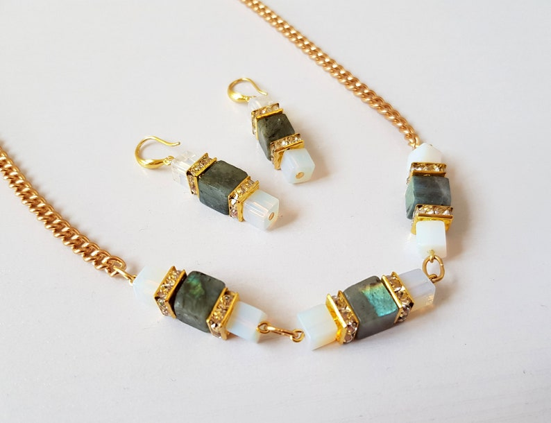 Special OccasionValentinesBirthday Labradorite And Opal Earring And Necklace Set