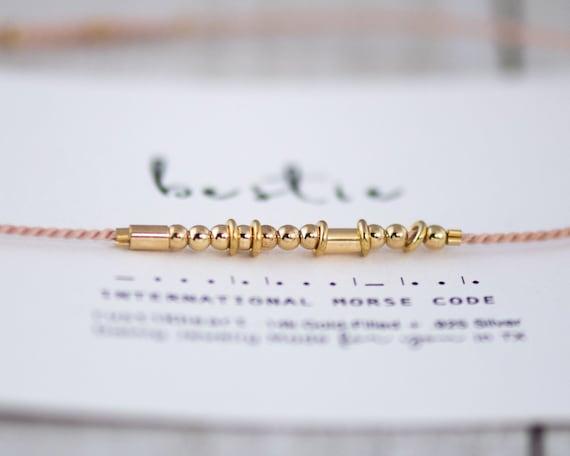 Gold Hoops Morse Bracelet on Silk