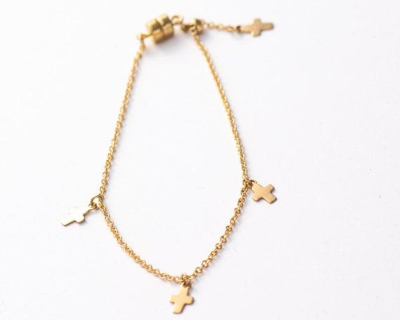 3 Tiny Hanging Crosses Bracelet