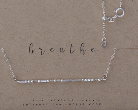 Breathe Morse Code Necklace with Gemstones on a Bar Sterling Silver Dainty Chain Necklace Yoga Jewelry You Got this