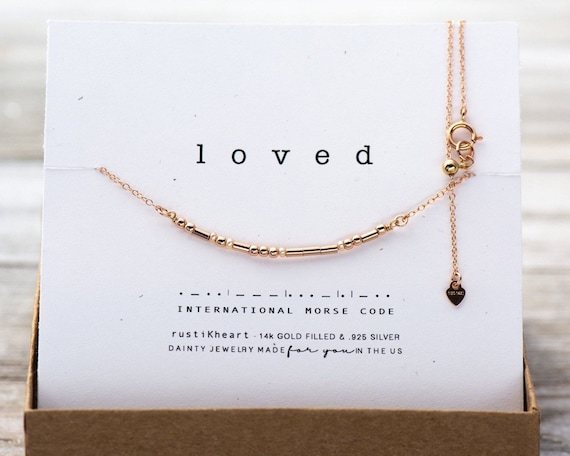 Rosy Pearls Morse Code Necklace