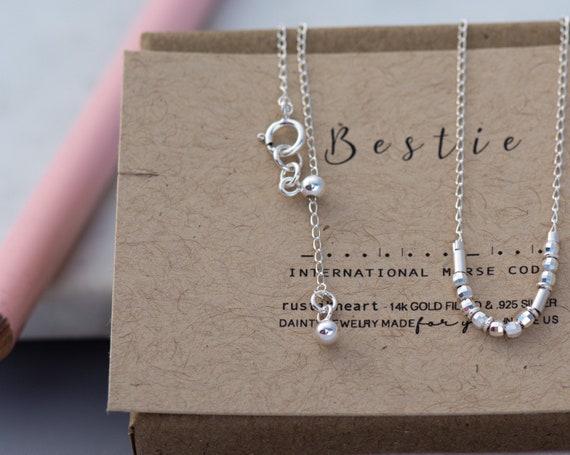 Morse Code Bestie Bracelet Best Friend Gift • Bestie Morse Code Bracelet Silver Morse Code Chain Bracelet • Friendship Gift • Best Friends