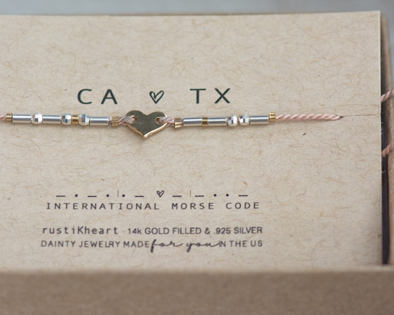 Heart Morse Code Bracelet Custom Words Any Name States 2 States Heart Bracelet Remember Souvenir