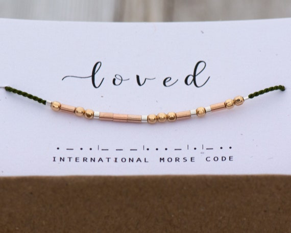 Loved Bracelet - Morse Code Bracelet Loved in Morse Code Friendship Gift