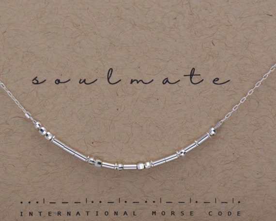 Best Friend Gift / Soulmate Silver Morse Code Chain Choker Necklace Bridesmaid Gift / Friendship Gift  / Soul Mate Custom Sterling Necklace