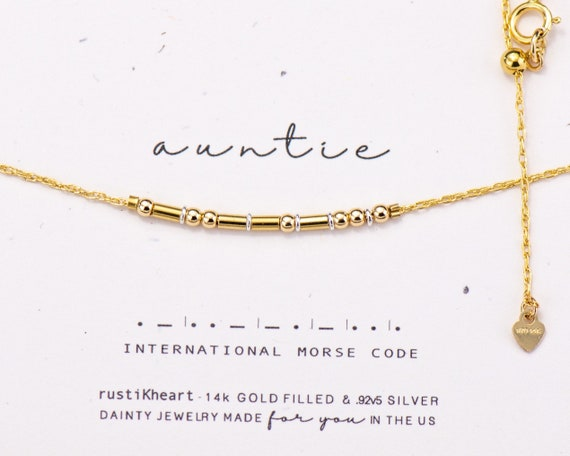 Auntie Gold Morse Code Necklace • Dainty Gold Chain Aunt Gift Auntie Necklace Best Friend Gift Golden Gold Morse Code Jewelry