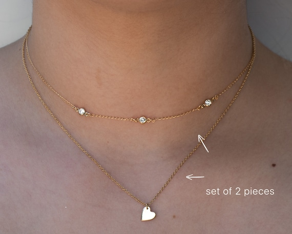 Layered SET of 2! Cz Choker AND Heart Chain Necklace Included - Layering Set of 2- 1 with three Tiny Cz Charms Plus Heart Necklace