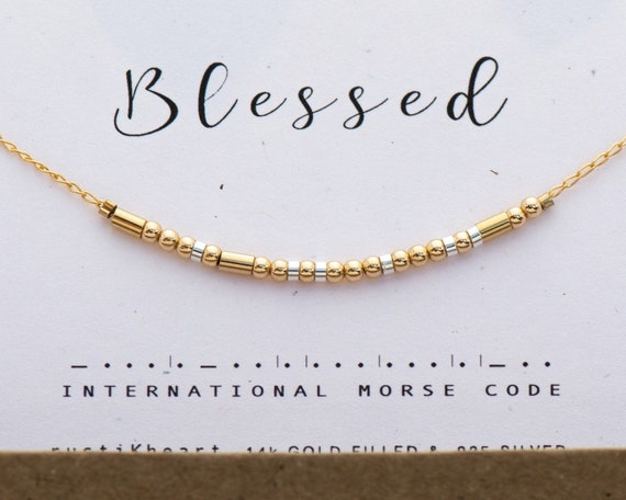 Blessed Necklace / Friendship Gift / Sister Aunt Gift / Gold Morse Code Choker Necklace / Custom Word Bridesmaid Gift Necklace / mother