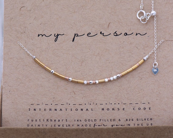 Custom Morse Code Necklace | Friendship Gift Personalized Morse Code Necklace / Best Friend Gift / My person morse code Necklace