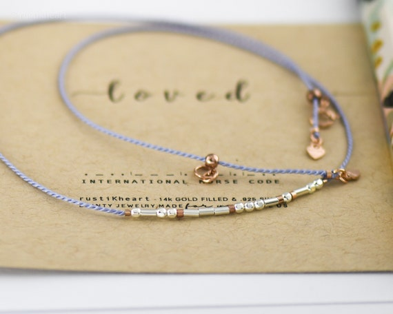 Morse Code Cord Necklace on Silk Cord - Lilac or 20 Color Options Silver or Gold Custom Name