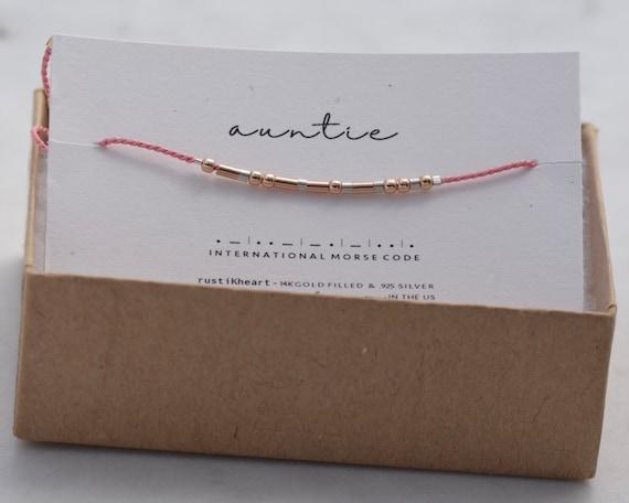 Auntie Gift Bracelet / Aunt Gift / Morse Code Rose Gold Pink String Bracelet auntie morse code bracelet gift for auntie morse code bracelet