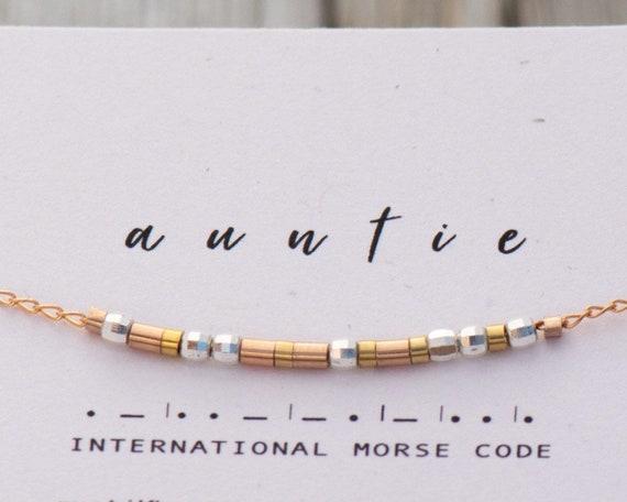 Rose Gold Morse Code Bracelet - Godmother Gift - Baptism Gift Ideas Morse Code Chain Bracelet Custom Names or any word