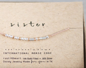 Sister Morse Code Bracelet • Or My Person • Strength • Sissy  • Adjustable • 20 Colors • Dainty Jewelry