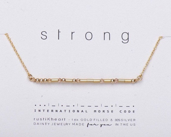 Strong  Morse Code Necklace with Gemstone Spacers on a Bar