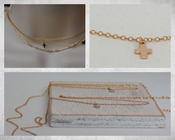 Little Rose Gold Cross Choker