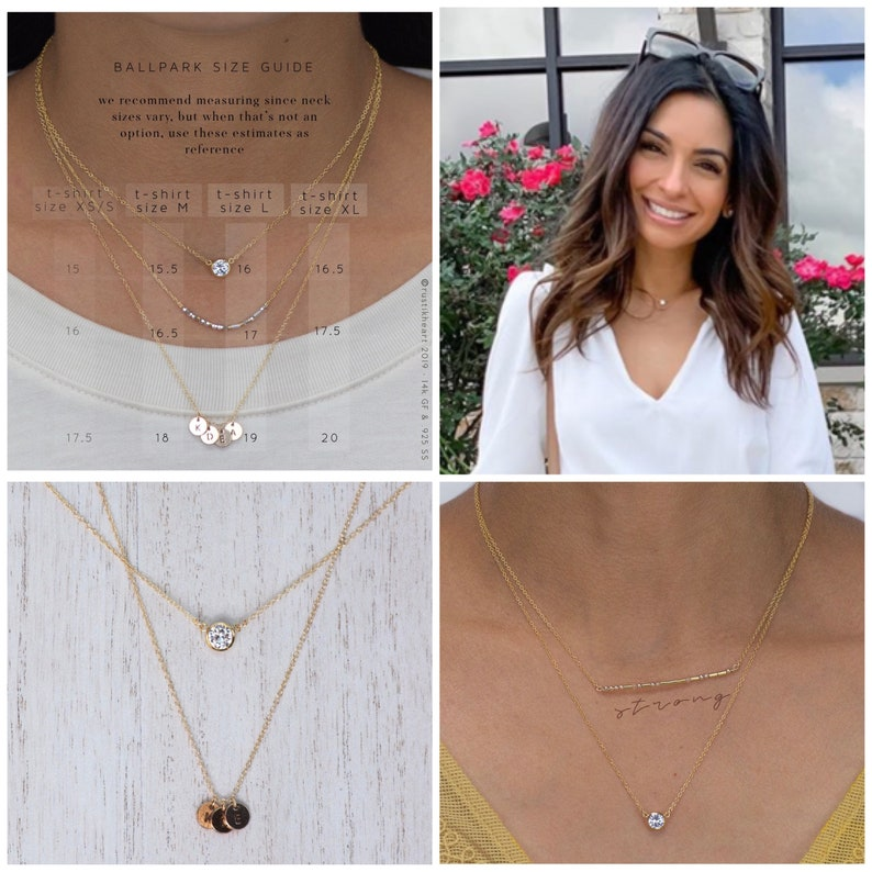 Round Diamond Cut Charm Gold Necklace with hanging white round clear crystal CZ stone Golden gold filled Nasreen Chain necklace Heynasreen