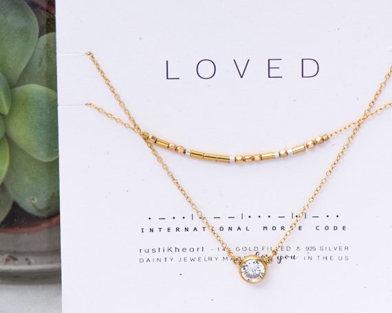 Loved Necklace SET to layer or wear separate - 2 layering Gold Necklaces • Loved in Morse Code with Nasreen CZ Necklace Mother Grandma Gift