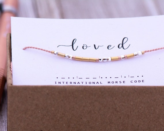 CUSTOM Loved Morse Code String Bracelet • PERSONALIZED Best Friend Gifts • Encouraging Morse Code Bracelet • Any word or Color Loved bracele
