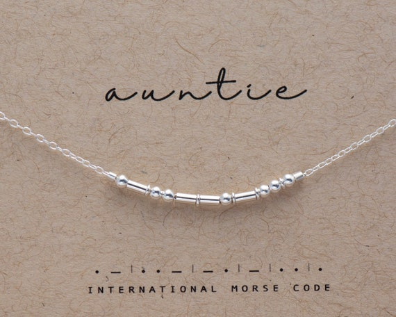 Auntie Gift Necklace / Auntie Silver Necklace / Aunt Gift / Custom Auntie Morse Code Necklace Friend Friendship Best Friend Gifts