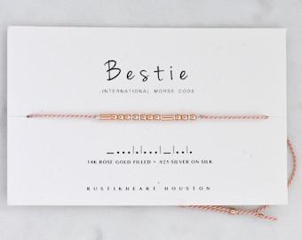 Bestie Rose Gold String Bracelet • Best Friend Gift • Bestie Morse Code Pink Bracelet • BFF Bracelet • Bridesmaid Gift
