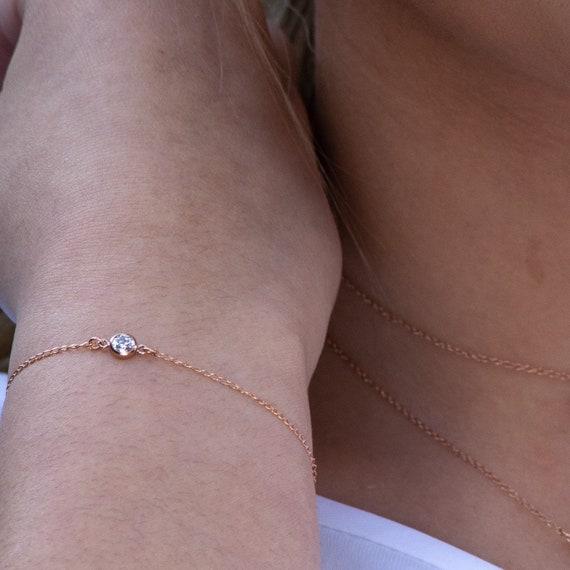 Dainty Rose Gold Bracelet • Bridesmaid Gift Bracelet • Bridal Jewelry • Layering Bracelet • rose Gold Filled Bracelet with cz rk81rb