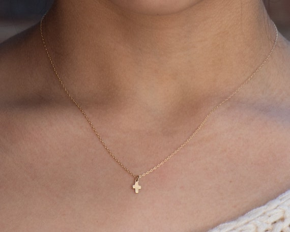 Tiny Cross Necklace • Gold-Filled Little Smooth Cross Chain Necklace