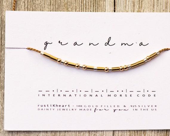 Grandma Gift Bracelet | Grandma Morse Code Bracelet Secret Hidden Message Surprise Announcement Grandmother Gift Gigi Nana Bracelet for Gran