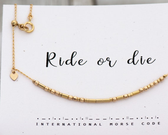 Ride Or Die Necklace Morse Code Necklace Ride or Die Custom Chain Personalized Any Size Dainty Gold Necklace Best Friend Gift