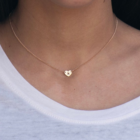 Mom Necklace • Heart Initial  Necklace • Rose Gold Heart Letter Choker • little hanging heart charm necklace • Best Friend gifts Mother gift