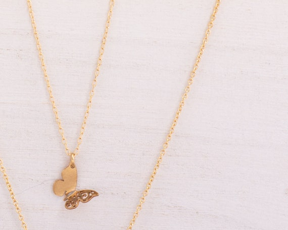 Butterfly Necklace - Tiny Butterfly Charm Necklace - Dainty Butterfly Gold-Filled Chain Necklace • Butterfly Chain Butterflies
